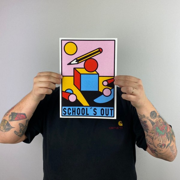 print . SCHOOL'S OUT. PRUDEN TATTOO . A4