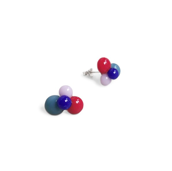 earrings . DROPS . BEIRA . red blue grey